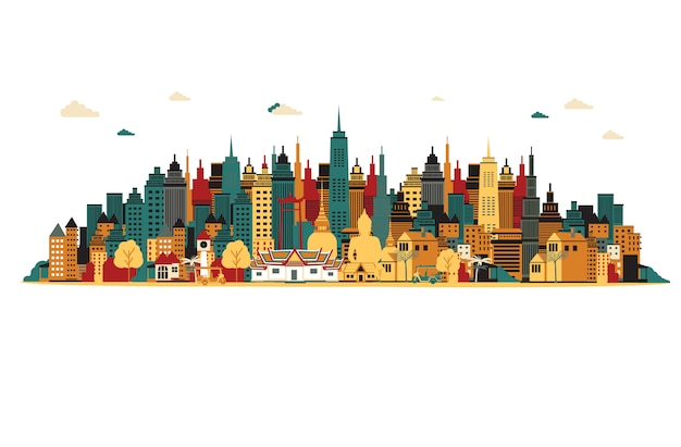 Miasto bangkok. ilustracji wektorowych