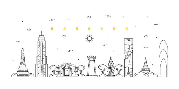 Miasto bangkok. nowoczesny krajobraz linii płaskiej. grafika liniowa pejzażu miejskiego z budynkiem, wieżą, drapaczami chmur, świątynią.