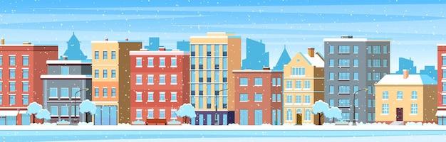 Miasto buduje domy zimowy pejzaż miejski