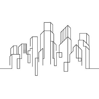 Miasto budynek linia sztuki wektor ikona ilustracja projekt szablon