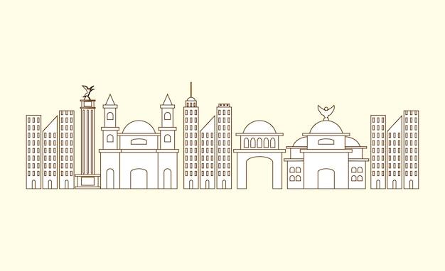 Miasto budynki mexico nad białym tłem