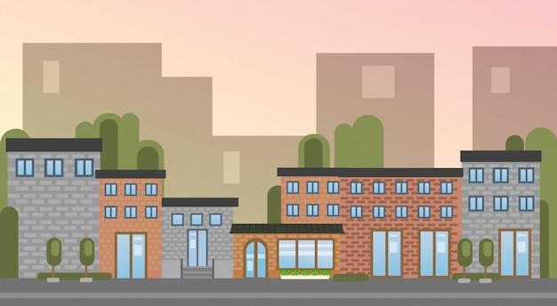 Miasto budynku domów miasta widoku sylwetki linii horyzontu tło