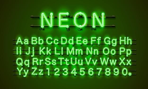 Miasto czcionek neonowych. neonowa zielona czcionka. lampa zielona czcionka. czcionka alfabetu.
