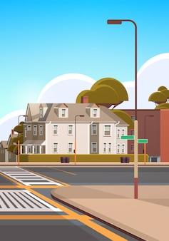 Miasto fasada budynki puste nie ma ludzi ulica miejska nieruchomość miasto