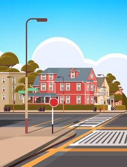 Miasto fasada budynki puste nie ma ludzi ulica miejska nieruchomości zewnętrzne miasto