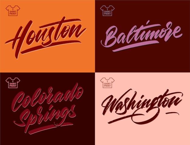 Miasto folwark napis vintage. houston, baltimore, colorado springs, waszyngton