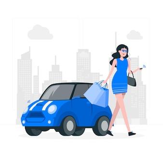 Miasto ilustracja koncepcja dziewczyna