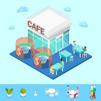 Miasto izometryczne. city cafe ze stolikami i ludźmi