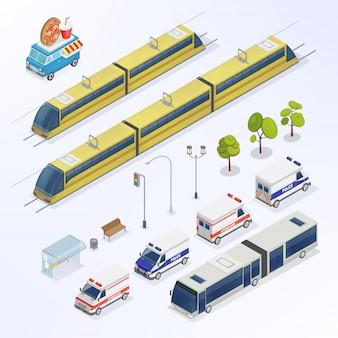 Miasto izometryczne. elementy miejskie. izometryczny autobus. izometryczny pociąg. transport miejski