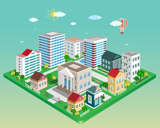 Miasto izometryczne. zestaw szczegółowych budynków izometrycznych. ilustracja
