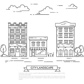 Miasto krajobraz z domami, kawiarnią, drzewami.