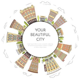 Miasto krajobraz z domami, parkiem, drzewami, chmurami. ilustracji wektorowych. płaska linia sztuki.
