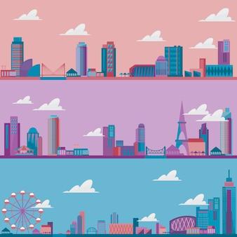 Miasto krajobraz z różną niebo ilustracją.
