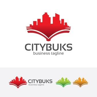 Miasto książki wektor logo szablon