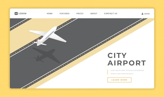 Miasto lotnisko lądowania strony szablon wektor