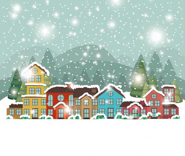Miasto miejskie w scenie snowscape