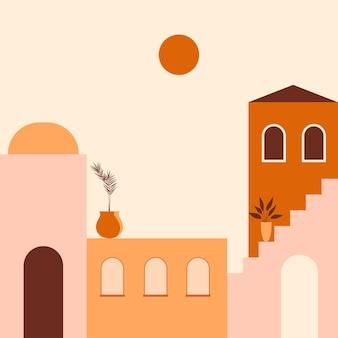Miasto minimalistyczna ilustracja boho