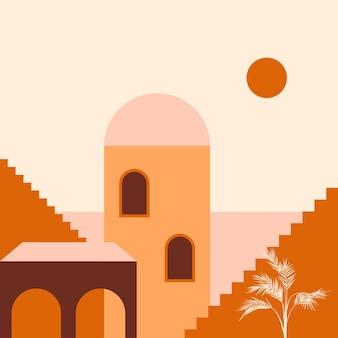 Miasto Minimalistyczna Ilustracja Boho Premium Wektorów