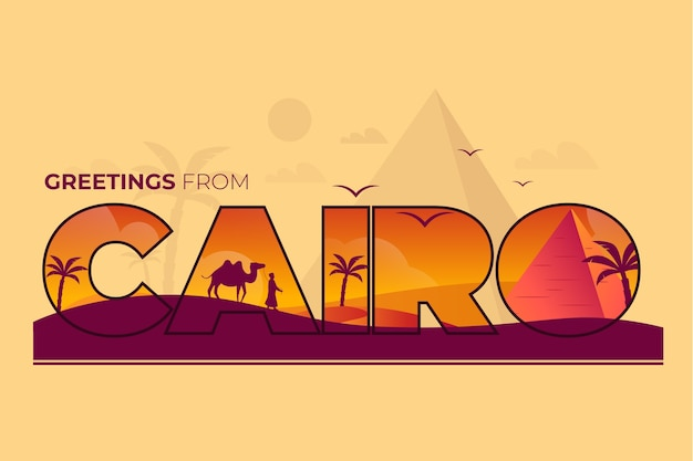 Miasto napis cairo z wielbłądami