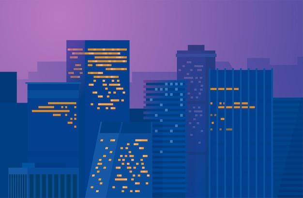Miasto nocą. śródmieście metropolii. pejzaż miejski na ciemnym tle.