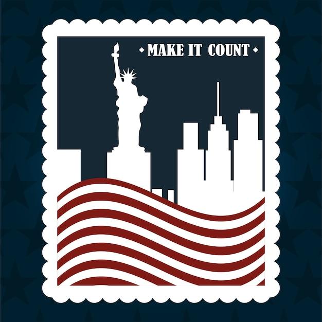 Miasto nowy jork flaga narodowy znaczek pocztowy, głosowanie polityczne i wybory usa, zrób to liczyć ilustracja