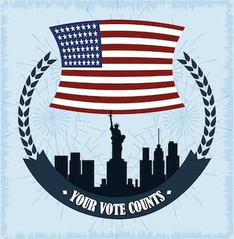Miasto ny godło flagi amerykańskiej, głosowanie polityczne i wybory w usa, spraw, by liczyła się ilustracja