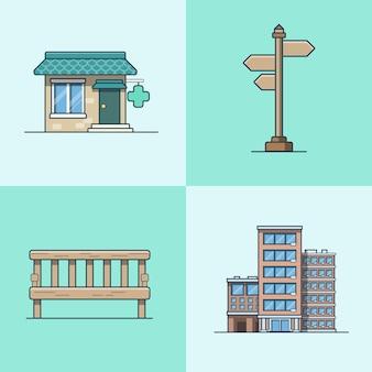 Miasto obiekt ławka szyld architektura apteka apteka zestaw budynków hotelowych. ikony stylu płaski zarys obrysu liniowego. kolekcja ikon w wielu kolorach.