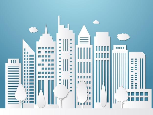 Miasto papercut. origami krajobraz miejski białe sylwetki z cieniami biura biznesowe tapeta na zewnątrz.