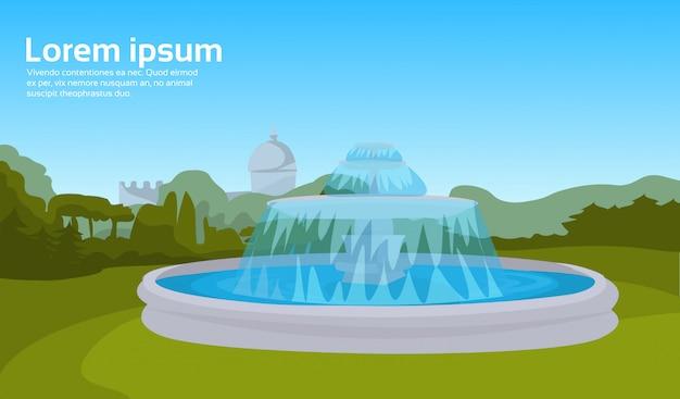 Miasto park fontanna zielona trawa drzewa pejzaż miejski poziomy
