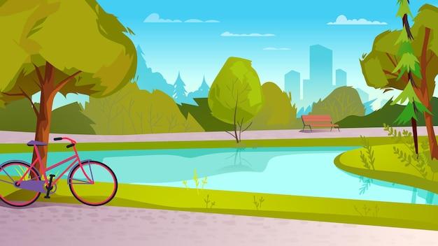 Miasto park płaski ilustracja kreskówka stylu tła sieci web