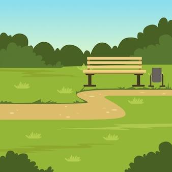 Miasto parkowa ławka, zielony lato krajobraz, natury tła ilustracja