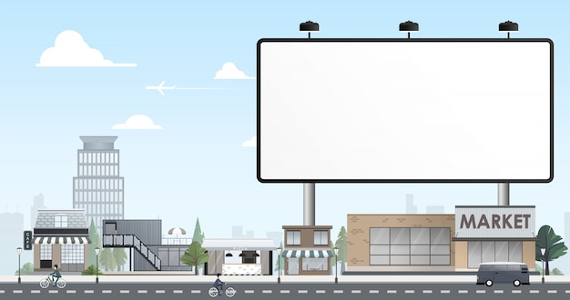 Miasto płaska konstrukcja z billboardu puste
