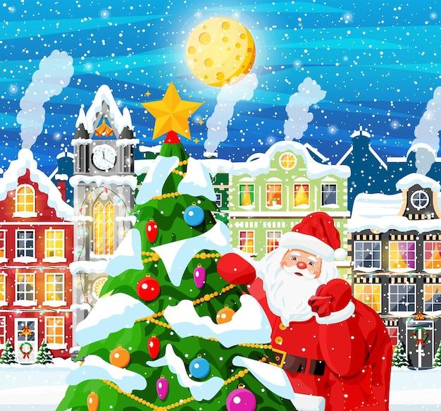 Miasto pokryte śniegiem. budynek w ozdobie świątecznej. boże narodzenie krajobraz, święty mikołaj z drzewem. dekoracja nowego roku. wesołych świąt bożego narodzenia obchody bożego narodzenia. ilustracja wektorowa