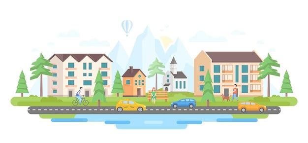 Miasto przez góry - nowoczesny projekt płaski styl wektor ilustracja z sylwetkami wzgórz na białym tle. obraz dzielnicy mieszkalnej, budynków, samochodów na drodze, kościoła, stawu, ludzi, drzew