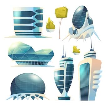 Miasto przyszłości, futurystyczne szklane budynki o nietypowych kształtach i zielone rośliny na białym tle