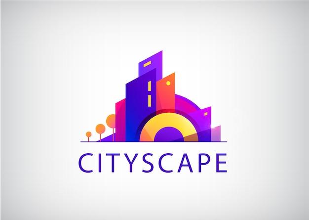 Miasto scape logo na szarym tle