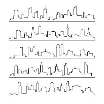 Miasto skyline. linia zabudowy miasta. zarys miejski pejzaż zestaw na białym tle
