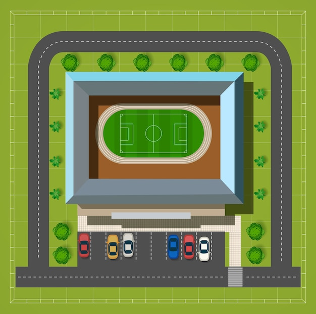 Miasto stadium z autostradą z samochodów i drzew odgórnym widokiem