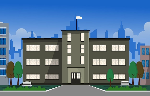 Miasto szkoła budynek studium nauka edukacja ilustracja wektorowa