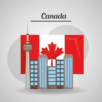 Miasto toronto kanada flaga amerykański kraj