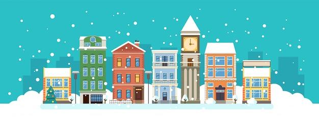 Miasto w boże narodzenie. zimowy krajobraz
