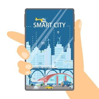 Miasto w koncepcji twojego smartfona. ręka trzyma telefon z gród inteligentnego miasta. płaska ilustracja.