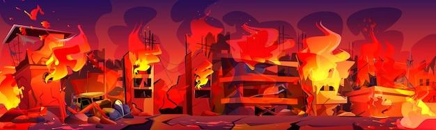 Miasto w ogniu, palące się budynki dymem i płomieniami