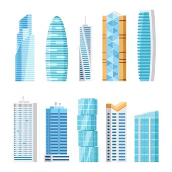 Miasto wieżowce kreskówka na białym tle zestaw