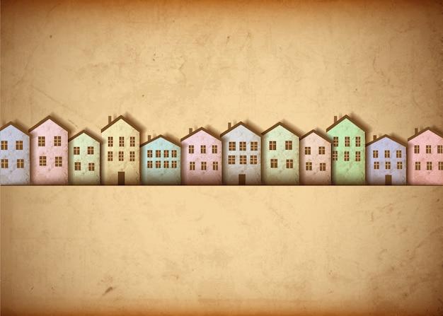 Miasto wykonane ze starego papieru