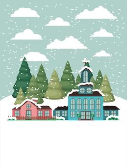 Miasto z kościołem w śnieżnym krajobrazie