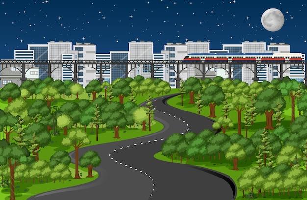Miasto z krajobrazem parku przyrody w scenie nocy