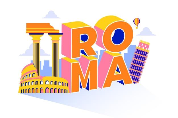 Miasto z napisem roma z głównymi atrakcjami