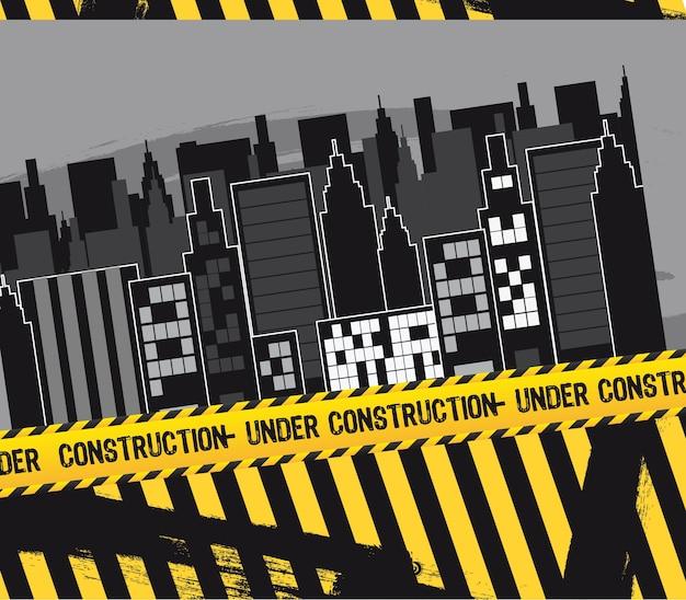 Miasto z taśmą budowlaną