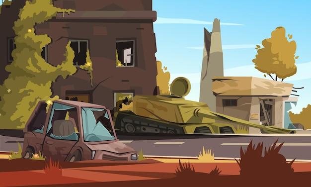 Miasto zniszczone w strefie wojny z uszkodzonym budynkiem, spalonym samochodem i czołgiem wojskowym na ulicznej kreskówce